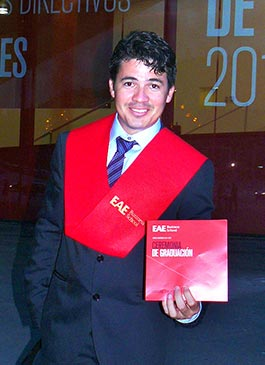 Former sponsored kid from Ecuador shows off his master's degree.
