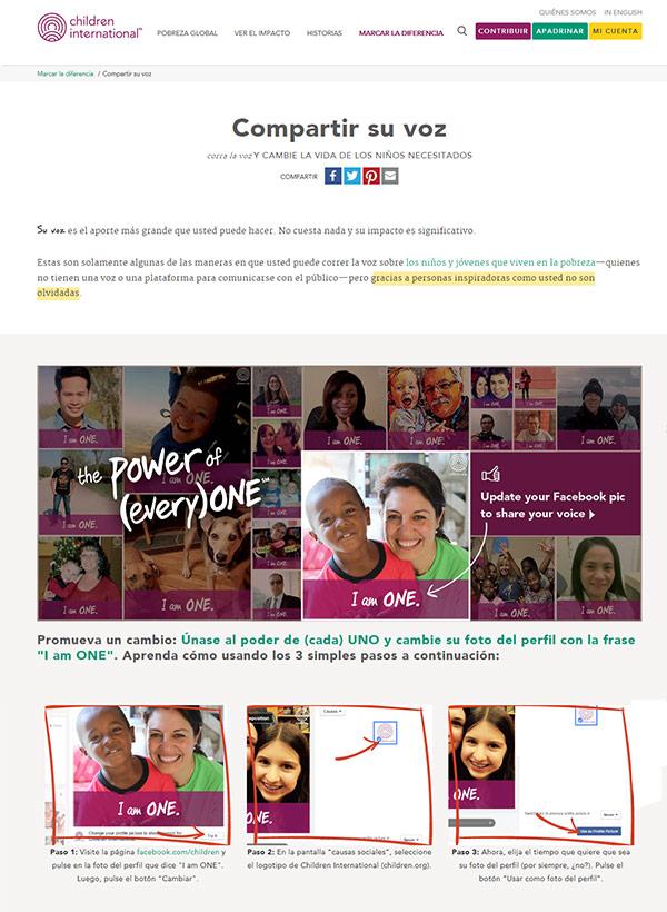 Captura de pantalla de la página llamada Compartir su voz