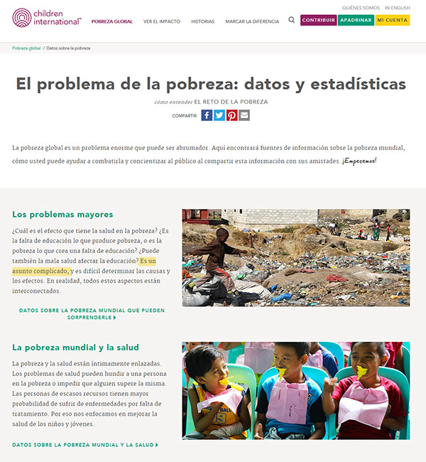 Captura de pantalla de página llamada Datos sobre la pobreza