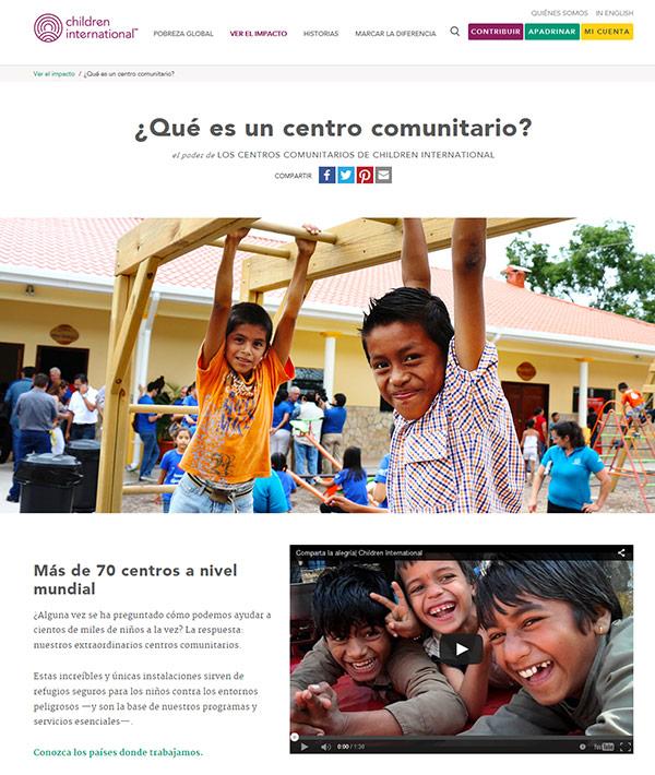 Captura de pantalla de la página sobre nuestros centros comunitarios