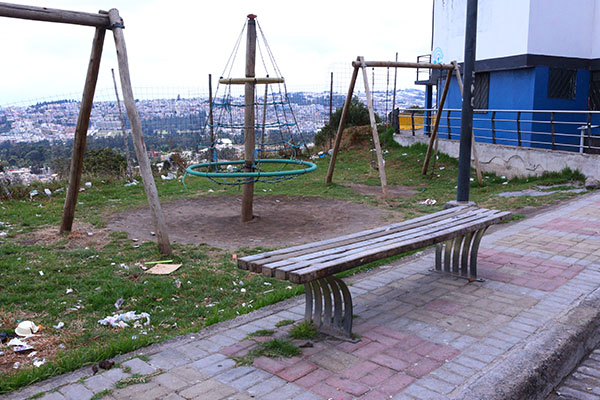 Broken, dirty play equipment in Quito, Ecuador