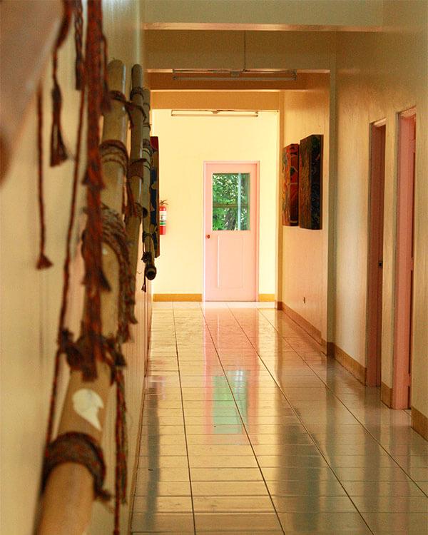 Empty halls of a CI community center