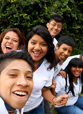 Teens in Guatemala take a selfie