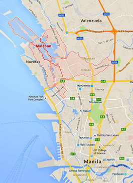 Mapa de Malabon, Filipinas