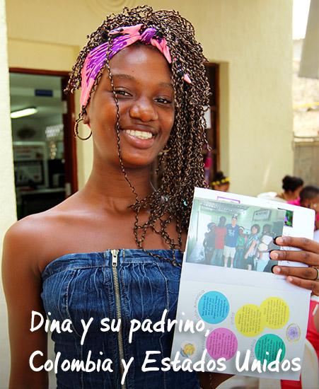 Dina y su padrino, Colombia y Estados Unidos