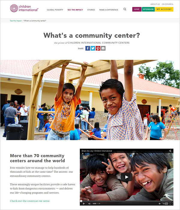 Screenshot of community center page