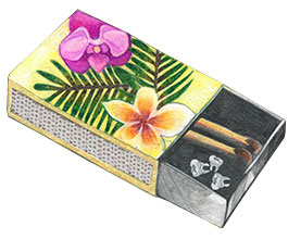 painted matchbox with teeth inside it