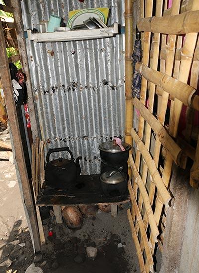 makeshift stove outside home