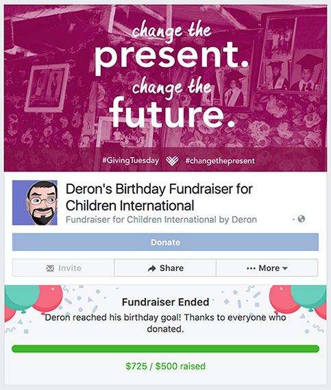 Start a fundraiser on Facebook