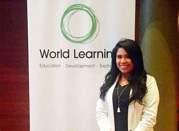 Johanny at World Learning to receive her grant award
