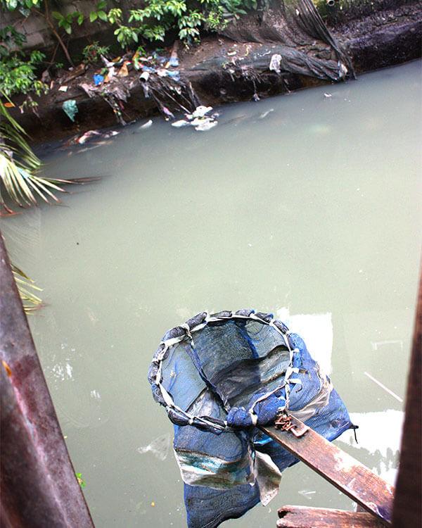 A fishing net awaits use