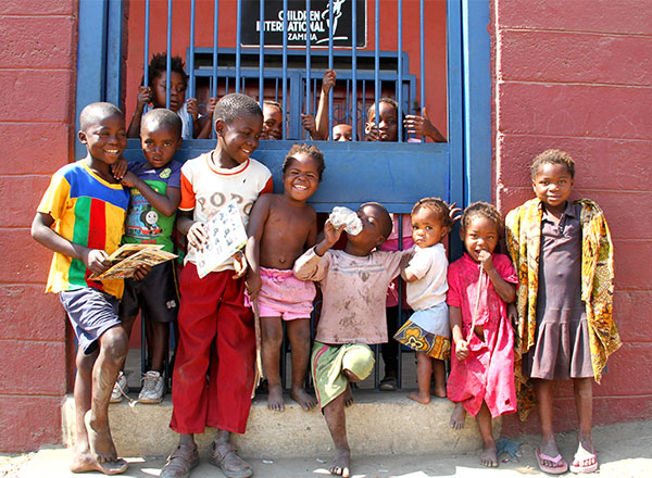 Kids from the George community in Lusaka visit the community center