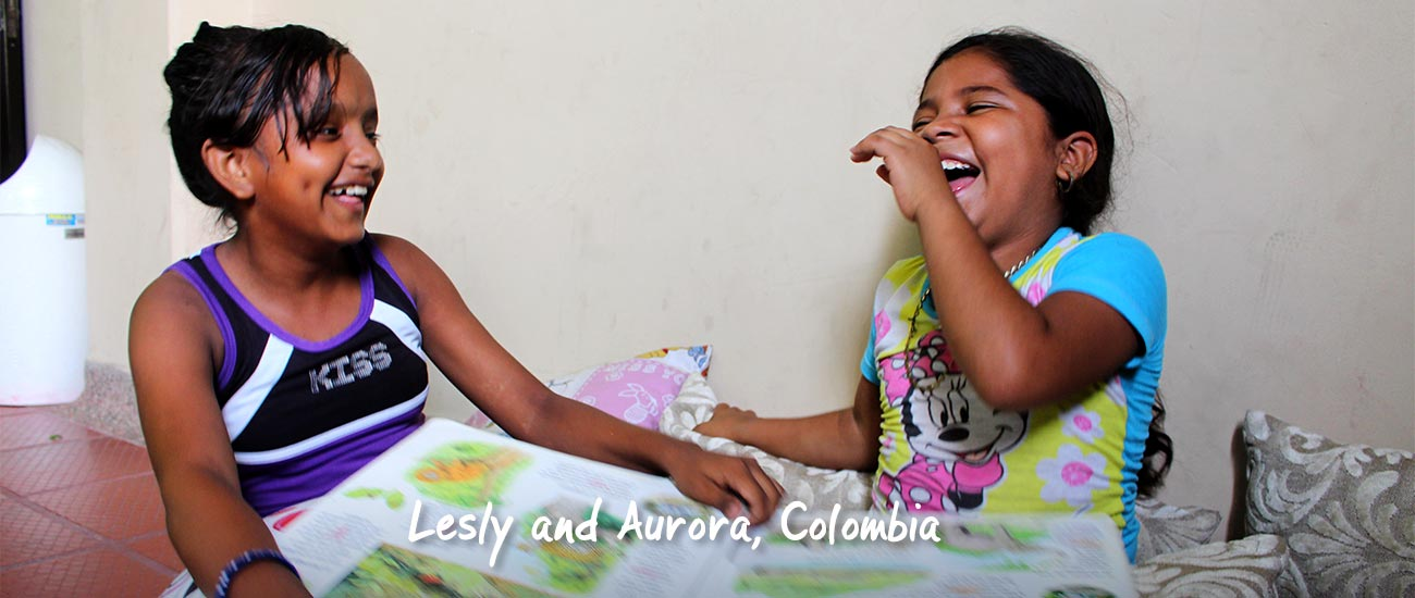 Lesly and Aurora laughing