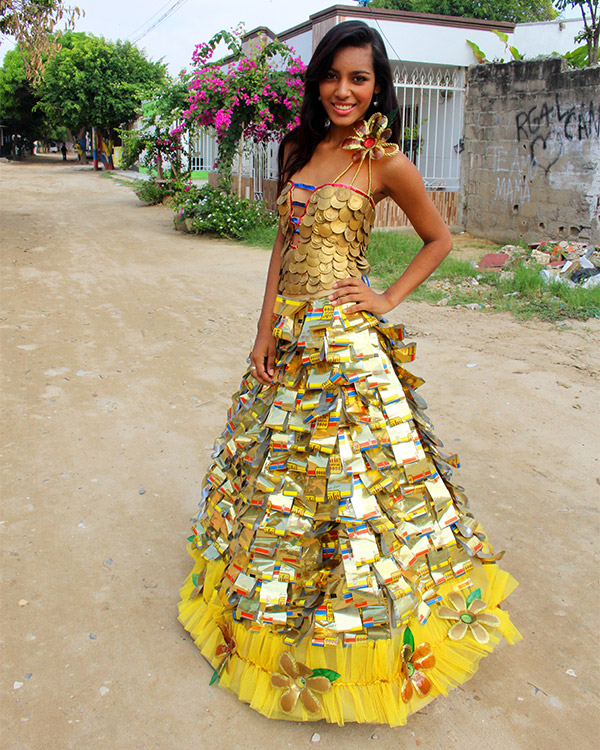 Juleimy (18) models a dress she helped make for school in Barranquilla, Colombia