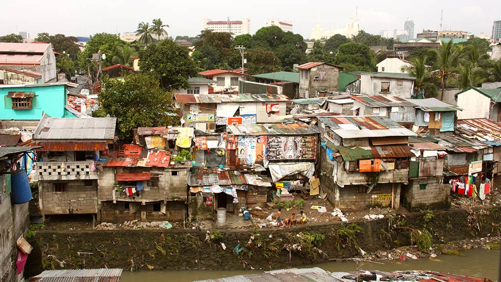 Cramped slums are often the homes for those in poverty in the Philippines