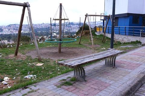 Broken, dirty play equipment in Quito, Ecuador