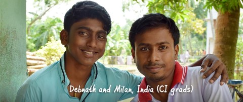 CI grads Debnath and Milan, from India, portrait