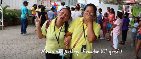 Miriam and Nathaly giggling