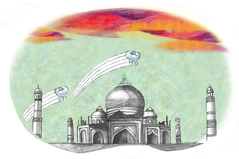 rendering of the Taj Mahal with two teeth flying over it