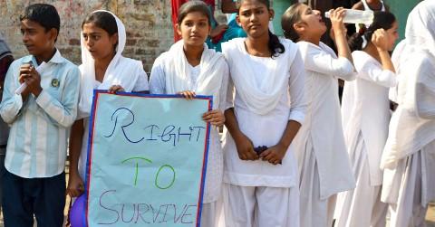 Girls and boys enrolled in Children International's adolescent health program in India