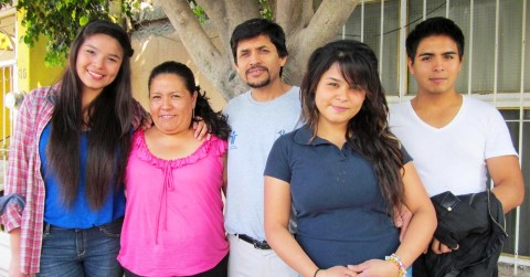 Tania and her family in 2012