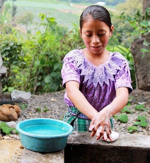 A young girl washes her hands with soap.