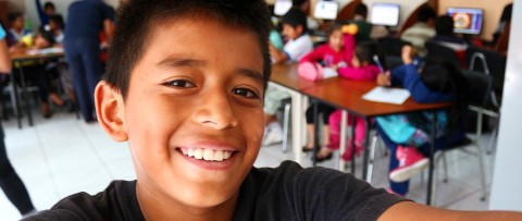 Sponsored kids in Quito, Ecuador, play traditional games.