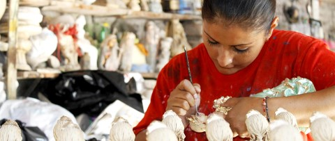 Carefully painting ceramics