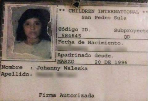 Johanny's CI identification card from when she was a sponsored girl.
