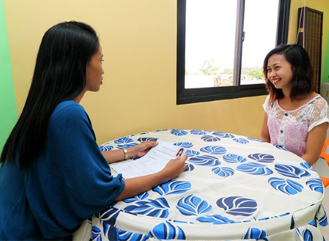 A youth does a practice interview.