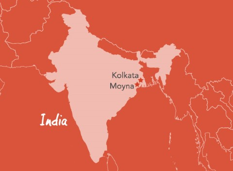Este mapa de Bengala occidental, India, muestra la distancia entre Kolkata y Moyna.