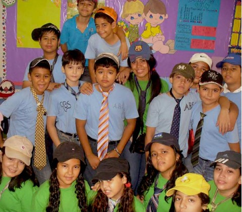 Johanny with a class of grade-schoolers whom she taught.