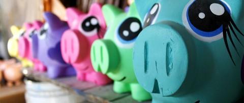 Freshly painted piggy banks